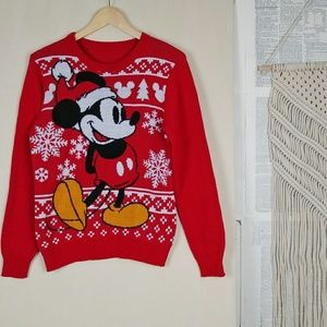 Vtg Red Disney Mickey Mouse Holiday Themed Sweater